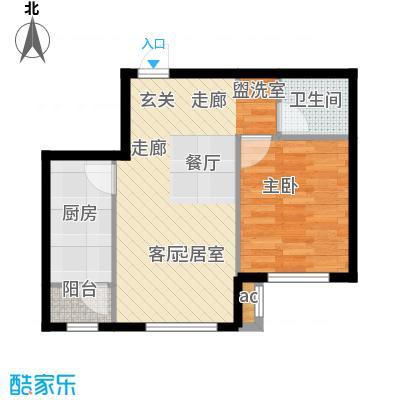和泓四季恋城59.00㎡D2户型1室1厅1卫