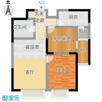 招商钻石山87.00㎡03户型 二室二厅一卫户型2室2厅1卫