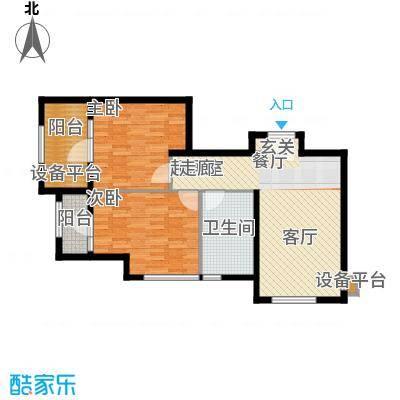 万科城84.00㎡M栋B4两室一厅一卫户型2室1厅1卫