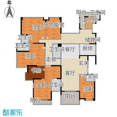 龙泉豪苑一期A1#-6#标准层户型5室1厅6卫1厨