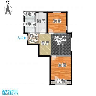 中拥塞纳城A户型两室两厅一卫,82.6-82.97平米户型
