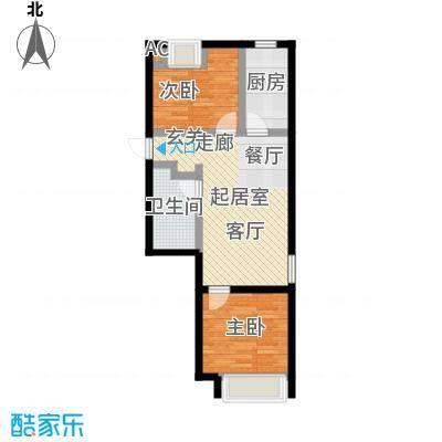 颐和星海79.57㎡C户型2-1#二室二厅一卫户型2室2厅1卫