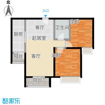 北京城建・世华泊郡87.00㎡4号楼户型2室1卫1厨