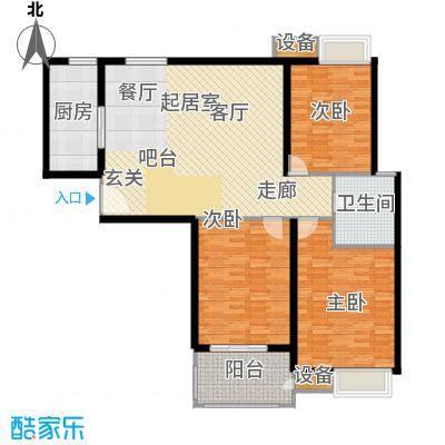 玫瑰园123.02㎡13#楼 E户型 3室2厅1卫户型3室2厅1卫