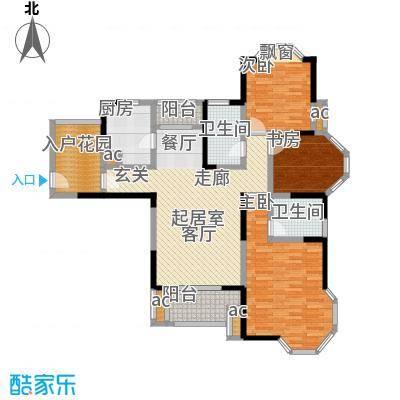 永新秀郡128.00㎡高层标准层F户型3室2厅2卫