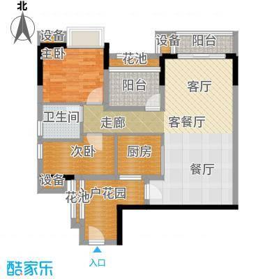 翠屏领东天河E05北向户型2室1厅1卫1厨