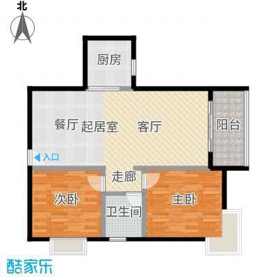 星云轩81.15㎡D栋标准层02单元户型2室1卫1厨