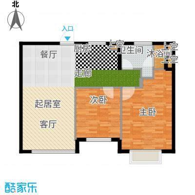 玩美天地90.00㎡3、7号楼三层D户型2室2厅1卫