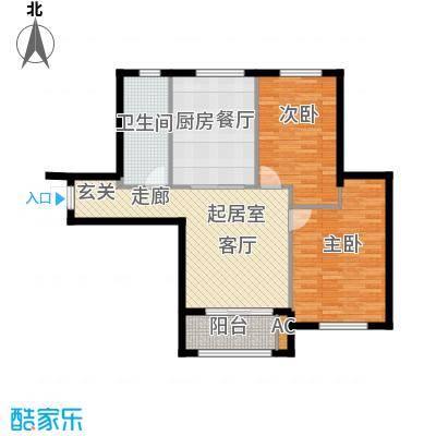 宇圣明珠83.91㎡G户型二室二厅一卫户型2室2厅1卫QQ