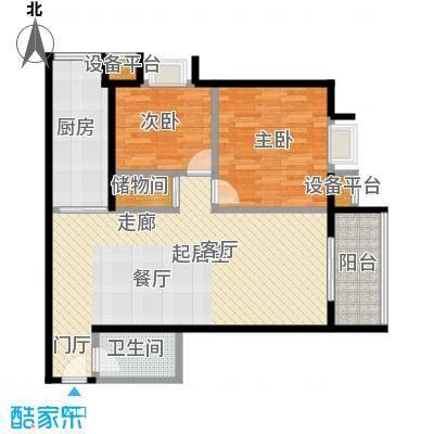 半坡国际广场112.67㎡B户型2室2厅1卫户型2室2厅1卫