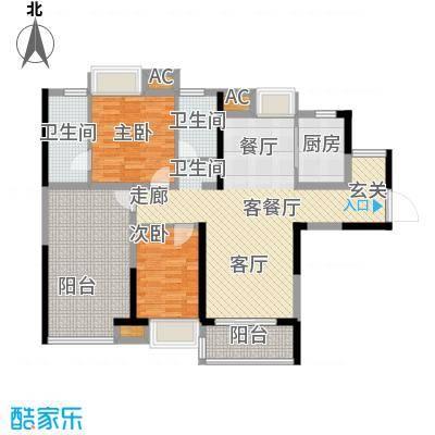 中信观澜凯旋城项目8-10栋标准层E户型3室2厅2卫1厨110.00㎡