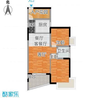 香樟国际1栋标准层C户型2室1厅1卫1厨