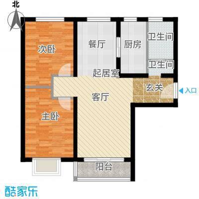 世纪龙庭二期99.00㎡J户型2室2厅1卫