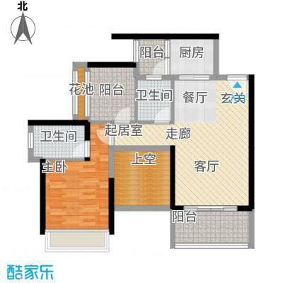 大东城4号楼AB单元B创意前户型1室2卫1厨
