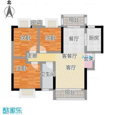 富盈盈翠曦园户型3室1厅1卫1厨