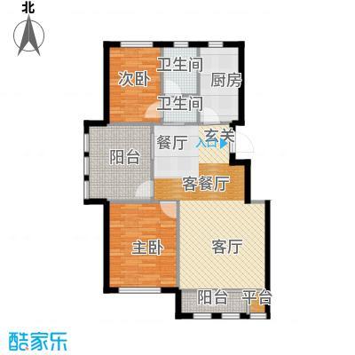 华宇梧桐苑96.00㎡B1户型 2室2厅1卫户型