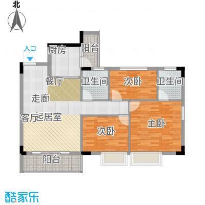友田碧云轩102.00㎡1~5栋8层01户型3室2厅2卫