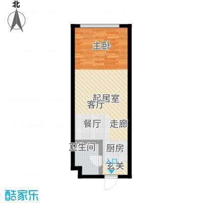 华亿明城53.60㎡D1户型 一室二厅一卫户型1室2厅1卫