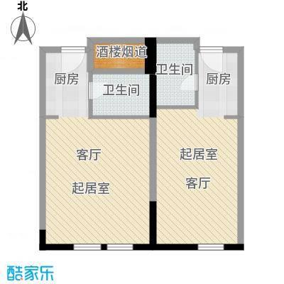邦泰国际公寓91.42㎡15-18层02单元户型2卫