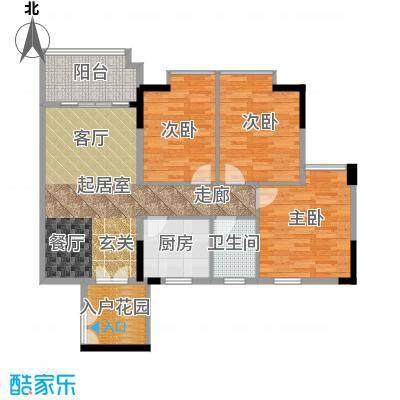 城央御景尚品94.35㎡12栋标准层04单元户型3室1卫1厨