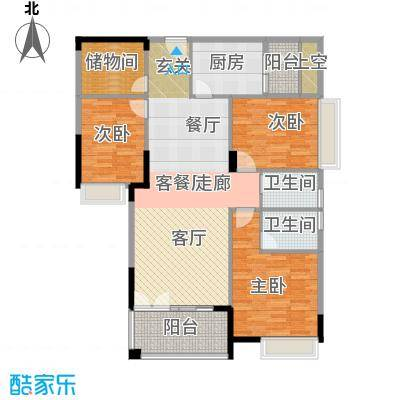 利丰城市花园豪庭世家8栋3单元03户型3室1厅2卫1厨