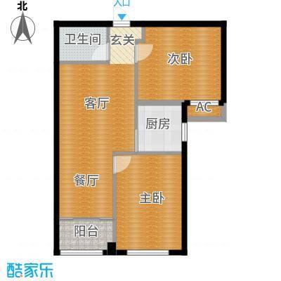 观山蝶恋花85.00㎡观山蝶恋花户型图B2户型两室两厅(2/3张)户型10室
