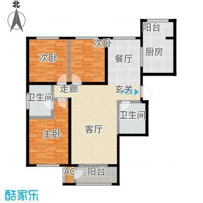亿利傲东国际142.00㎡2-11层户型3室2厅2卫LL