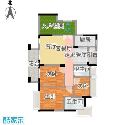 中央财津1栋2单元B户型3室1厅2卫1厨