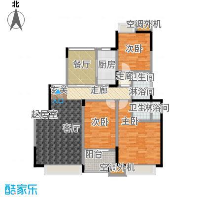 华发新城118.82㎡G3b标准层 三室二厅二卫户型3室2厅2卫
