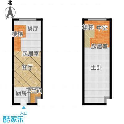 明翰国际56.32㎡明翰国际LOFT公寓 B1户型图 1室1厅1卫56.32平户型1室1厅1卫