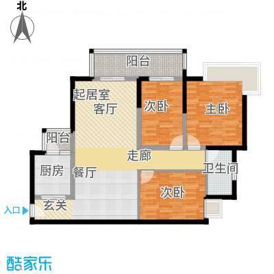 滨江水恋107.06㎡08户型3室1卫1厨