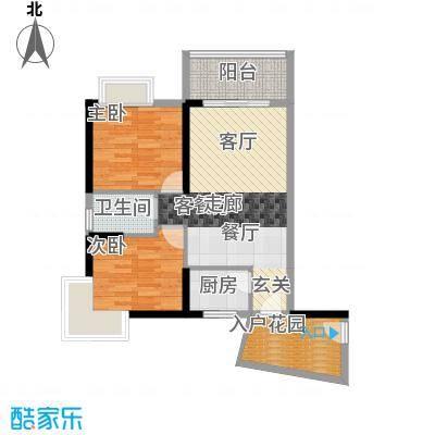 香樟国际69.63㎡D2户型2室1厅1卫1厨