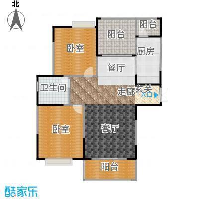 惠泽云锦城106.00㎡二期B户型2室2厅1卫