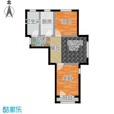 中拥塞纳城A1户型两室两厅一卫,69.63-69.66平米户型