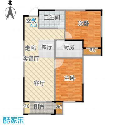 新湖印象江南二期90.00㎡二期a2户型2室2厅1卫