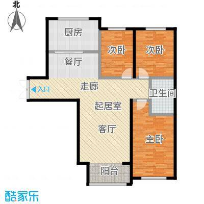 博雅园128.55㎡5#楼住宅户型3室1卫1厨