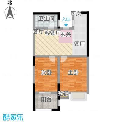 阳光龙庭73.30㎡二期楼栋 P户型2室2厅1卫