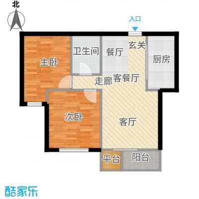 华宇梧桐苑79.00㎡D1户型-两室两厅79平户型图户型
