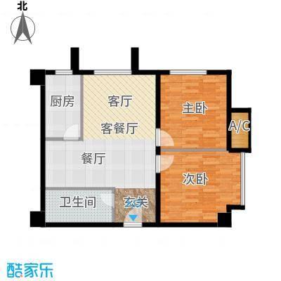 万通金府国际86.43㎡8号楼2门201-1301户型2室2厅1卫