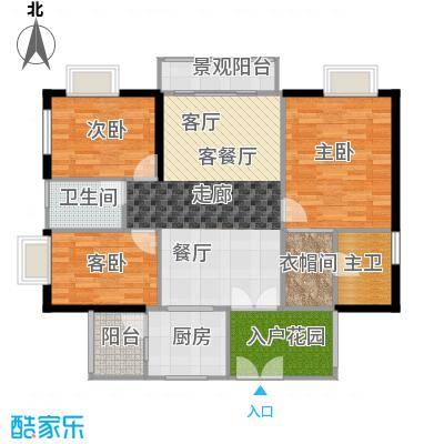 嘉裕丹顿阳光E座3-29层03单位户型3室1厅1卫1厨