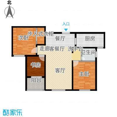 朗诗绿色街区C1户型3室1厅1卫1厨