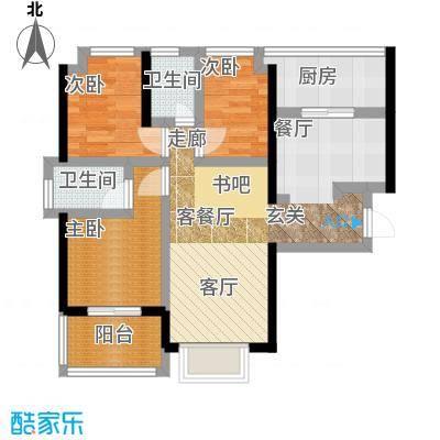 卓越皇后道055-6栋A-B单元B-C单位偶数层户型3室1厅2卫1厨