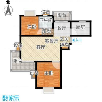 中房澜泊湾102.00㎡高层F1户型图户型2室2厅1卫