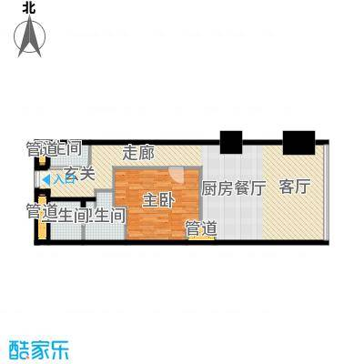 东方之门95.00㎡东方公馆48层2―4802户型1室1厅2卫