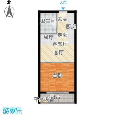 中翔丽晶55.00㎡高层标准户型2室2厅1卫