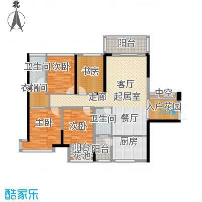 美佳华首誉133.00㎡C1/C2座C+D/E+F户型4室2厅2卫