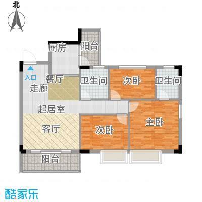 友田碧云轩108.00㎡1~5栋2~7层01户型3室2厅2卫