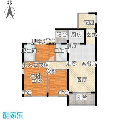 悦时代花园A座B座05单元户型3室1厅2卫1厨
