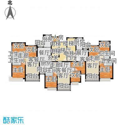 恒大御湖42-44栋1单元标准层示意图户型9室3厅5卫3厨