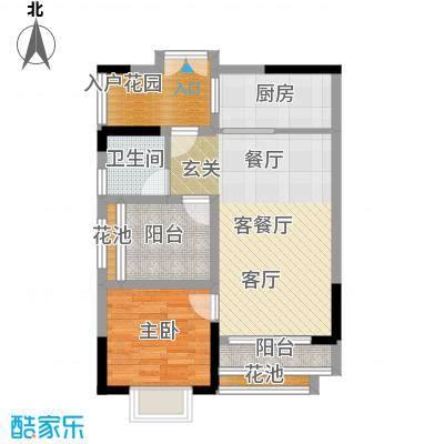翠屏领东天河E02南向户型1室1厅1卫1厨
